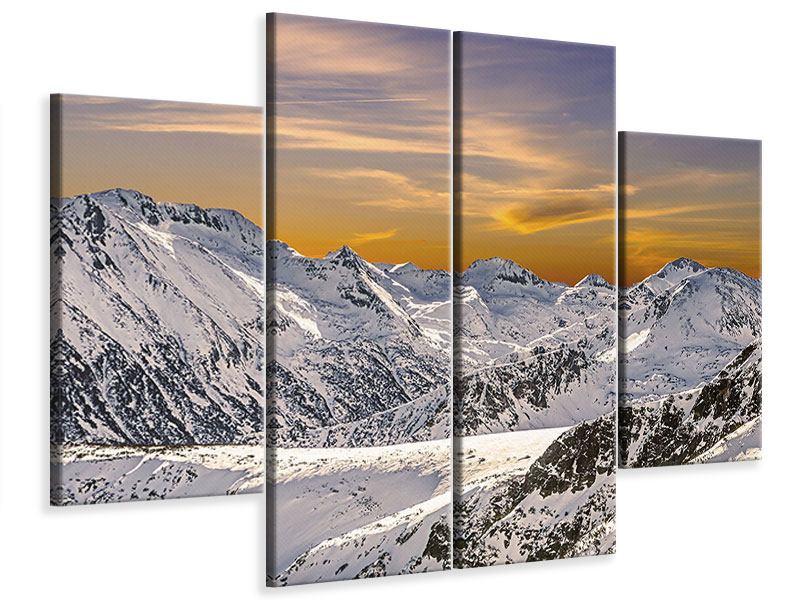 4 Piece Canvas Print Sunset In The Mountains