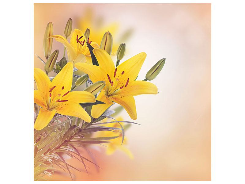 Canvas Print Yellow Lily Trio