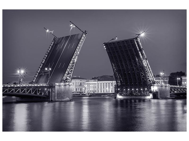 Canvas Print Bascule Bridge At Night