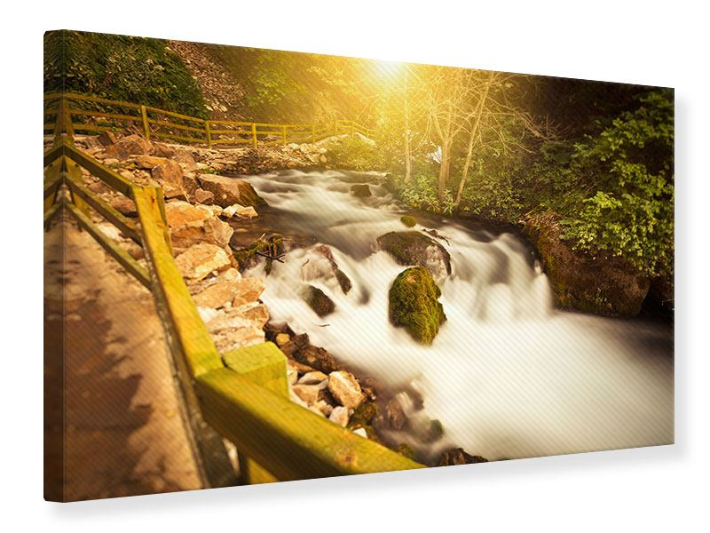 Canvas Print Sunset At Waterfall