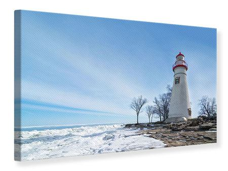 Canvas Print Lighthouse In Snow