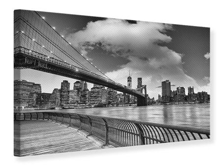 Canvas Print Skyline Black And White Photography Brooklyn Bridge NY
