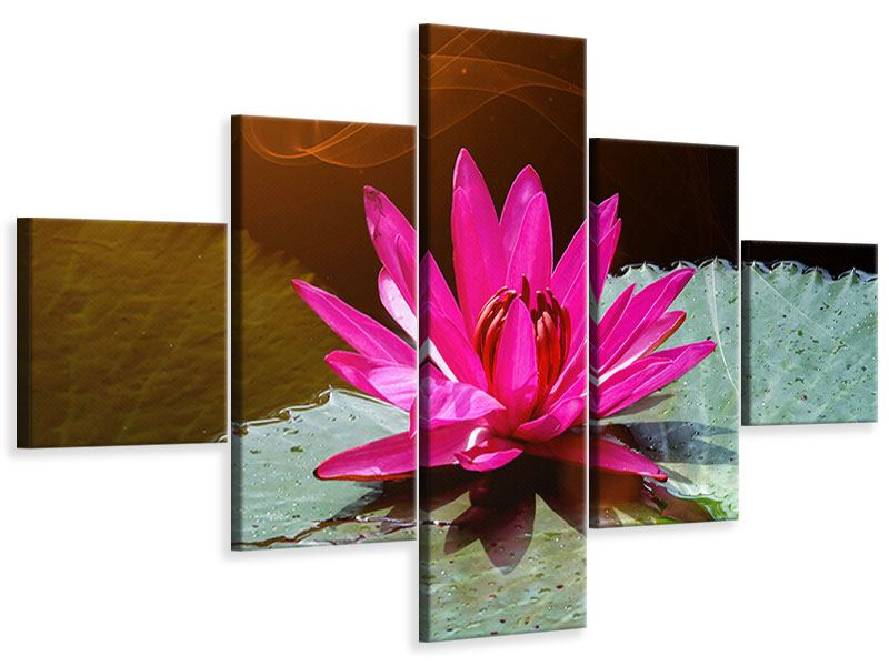 5 Piece Canvas Print The Frog And The Lily Pad