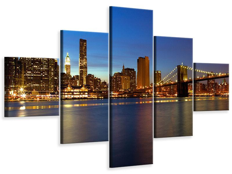 5 Piece Canvas Print Skyline Manhattan In Sea Of Lights