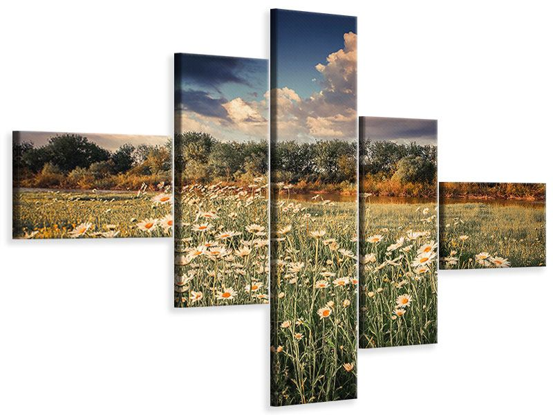 Modern 5 Piece Canvas Print The Ox On The River