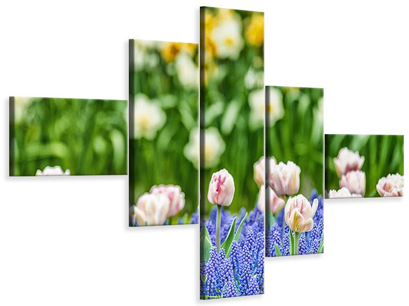Modern 5 Piece Canvas Print A Garden With Tulips