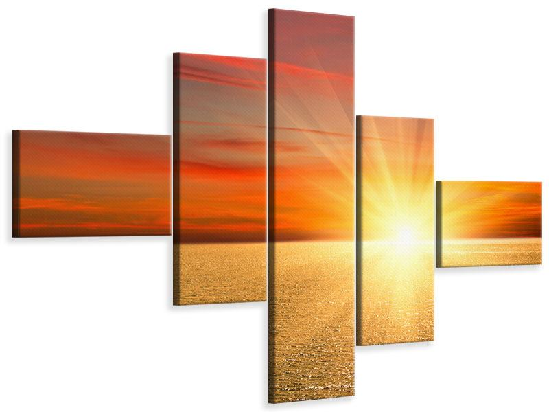 Modern 5 Piece Canvas Print The Sunset