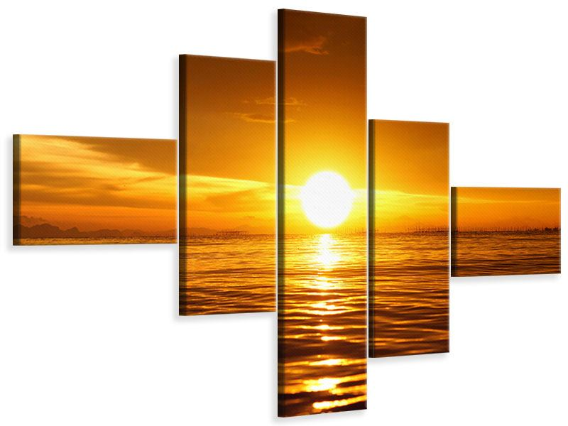 Modern 5 Piece Canvas Print Glowing Sunset On The Water