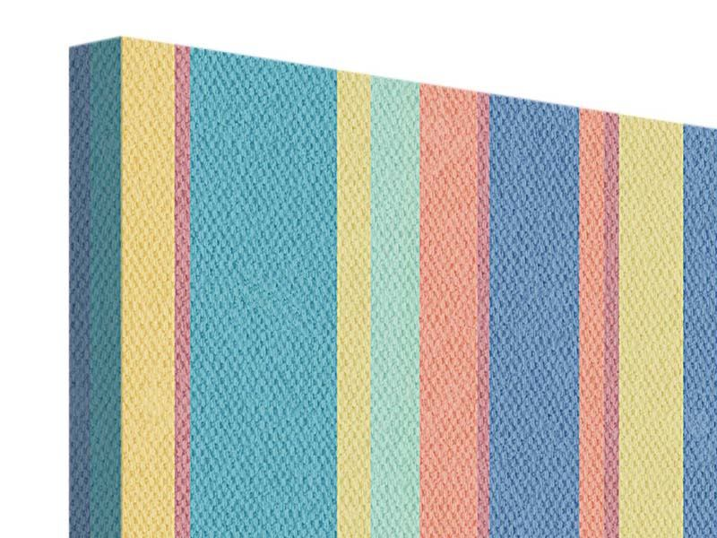 9 Piece Canvas Print Vertical Stripes In Pastel