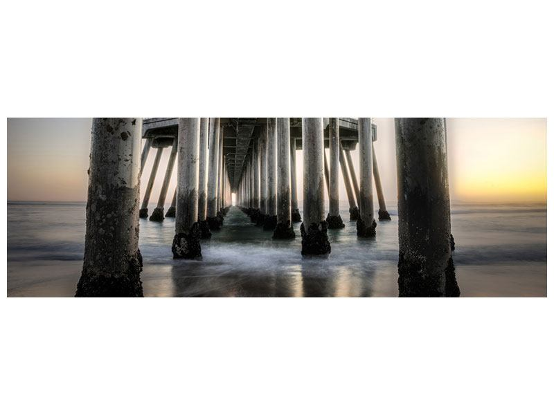 Panoramic Metallic Print Bridge Piers