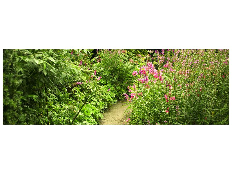 Panoramic Metallic Print Garden Path