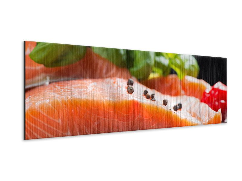 Panoramic Metallic Print Fresh Salmon