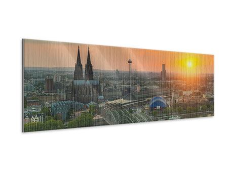 Panoramic Metallic Print Skyline Cologne At Sunset
