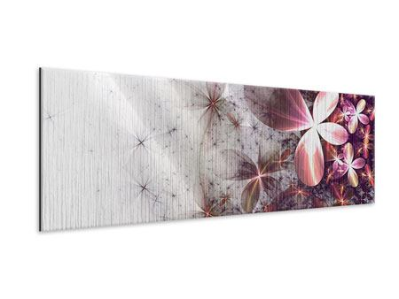 Panoramic Metallic Print Abstract Floral