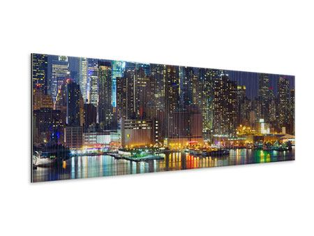 Panoramic Metallic Print Skyline New York Midtown At Night
