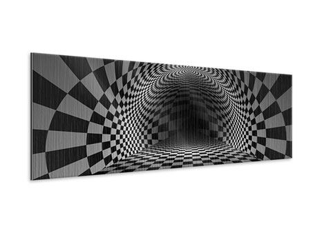 Panoramic Metallic Print Abstract Chessboard