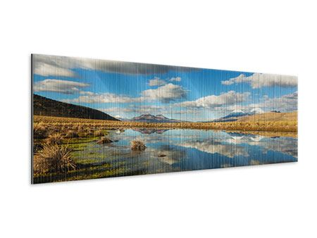 Panoramic Metallic Print Water Reflection on Lake