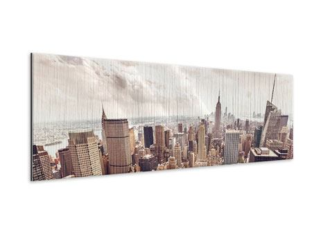Panoramic Metallic Print Skyline Over The Roofs Of Manhattan
