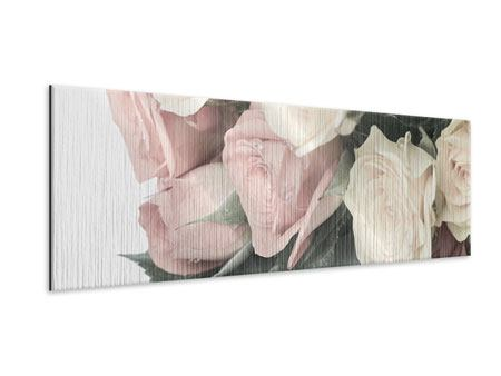 Panoramic Metallic Print Romantic Rose