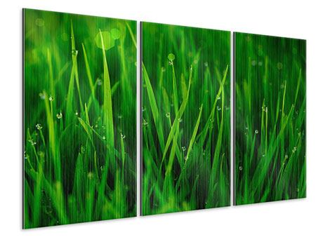 3 Piece Metallic Print Grass With Morning Dew