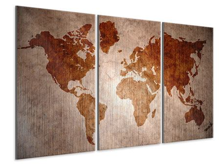 3 Piece Metallic Print Vintage Map Of The World