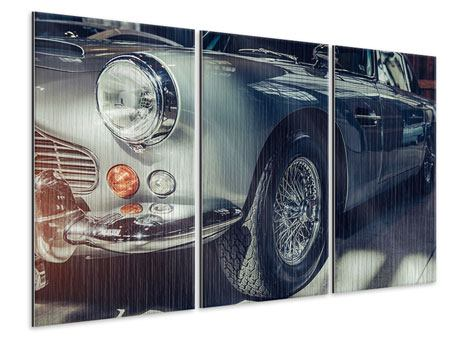 3 Piece Metallic Print Classic Car