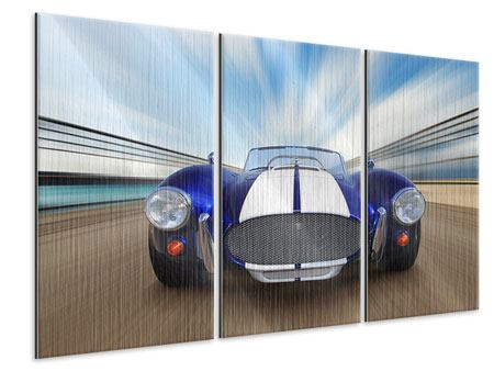 3 Piece Metallic Print Racing Car