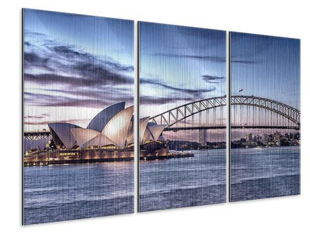 3 Piece Metallic Print Skyline Sydney Opera House