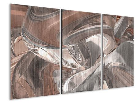 3 Piece Metallic Print Abstract Glass Tiles