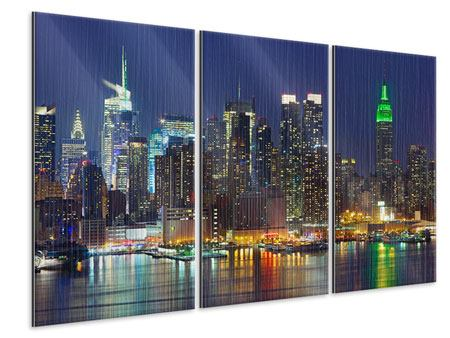 3 Piece Metallic Print Skyline New York Midtown At Night