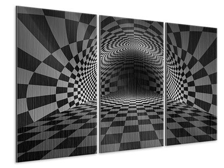 3 Piece Metallic Print Abstract Chessboard
