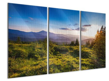 3 Piece Metallic Print Peaceful Landscape