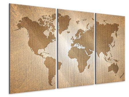 3 Piece Metallic Print Map Of The World In Vintage