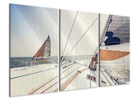 3 Piece Metallic Print Yacht
