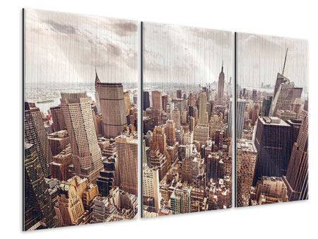 3 Piece Metallic Print Skyline Over The Roofs Of Manhattan