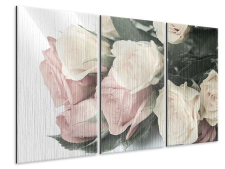 3 Piece Metallic Print Romantic Rose