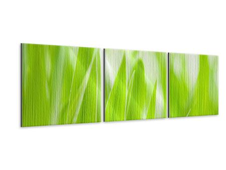 Panoramic 3 Piece Metallic Print Grass XXL