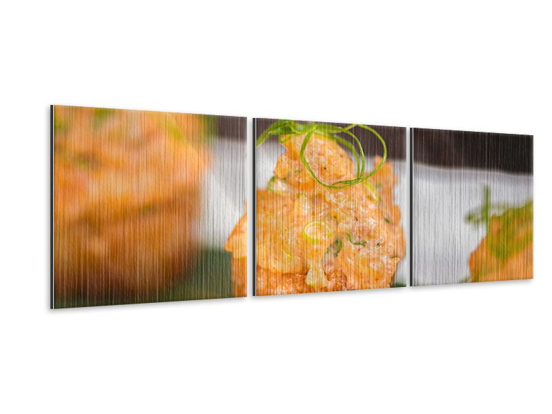 Panoramic 3 Piece Metallic Print Asian Cuisine