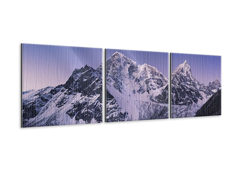 Panoramic 3 Piece Metallic Print Taboche And Cholatse