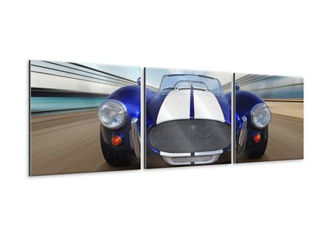 Panoramic 3 Piece Metallic Print Racing Car