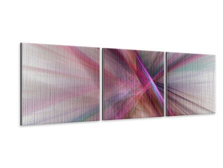 Panoramic 3 Piece Metallic Print Abstract Lights Shine