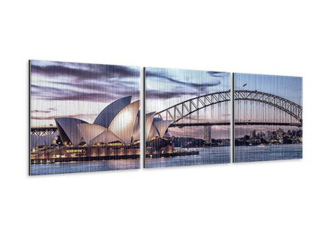 Panoramic 3 Piece Metallic Print Skyline Sydney Opera House