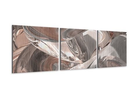 Panoramic 3 Piece Metallic Print Abstract Glass Tiles