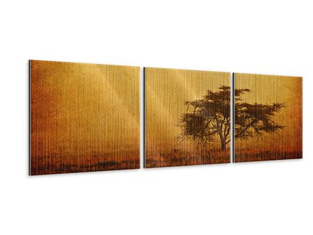 Panoramic 3 Piece Metallic Print Sunset Mood