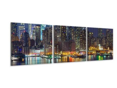Panoramic 3 Piece Metallic Print Skyline New York Midtown At Night