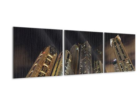 Panoramic 3 Piece Metallic Print Skyscrapers Dubai Marina