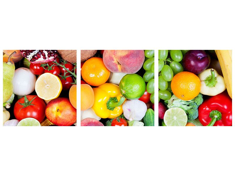 Panoramic 3 Piece Metallic Print Fresh Fruit