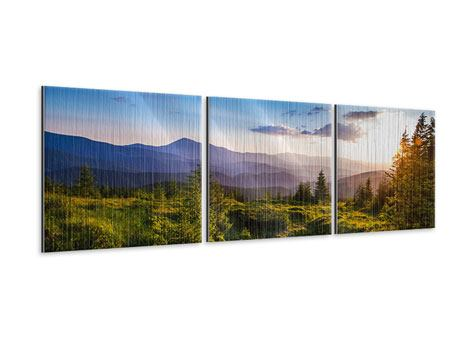 Panoramic 3 Piece Metallic Print Peaceful Landscape