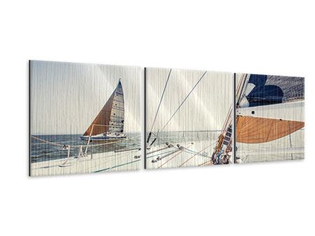 Panoramic 3 Piece Metallic Print Yacht
