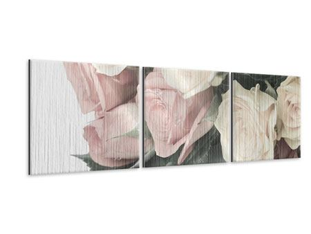 Panoramic 3 Piece Metallic Print Romantic Rose
